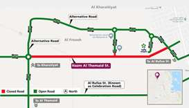 Traffic diversion on Hazm Al Themaid Street