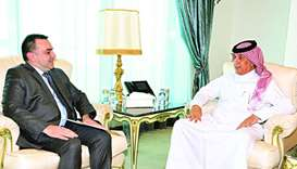 HE the Minister of State for Foreign Affairs Sultan bin Saad al-Muraikhi receives the message ambass