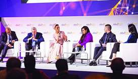 Her Highness Sheikha Moza bint Nasser participating in a panel where she discussed some of the chall
