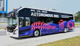 A Volvo AB 7300 electric autonomous bus drives on the track of Centre of Excellence for Testing & Re