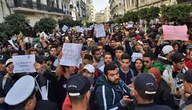 Algerian students demonstrate in the capital Algiers against ailing President Abdelaziz Bouteflika's