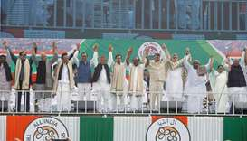 "Leaders of India's main opposition parties join their hands together during ""United India"" rally ahe"