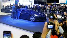 A Bugatti La Voiture Noire car is displayed at the 89th Geneva International Motor Show