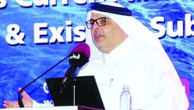 Ashghal president Dr Saad bin Ahmad al-Muhannadi delivering a speech at the seminar