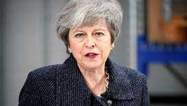 British Prime Minister Theresa May delivers a speech during her visit in Grimsby, Lincolnshire, Brit