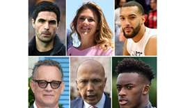 (clockwise from top L) Mikel Arteta, Sophie Gregoire Trudeau,  Rudy Gobert, Hudson-Odoi, Peter Dutto