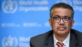 World Health Organization (WHO) Director-General Tedros Adhanom Ghebreyesus attends a daily press br