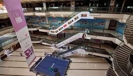 A view of an empty shopping mall is seen after Gujarat state government banned public gatherings to