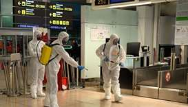 Members of the Military Emergencies Unit (UME) carry out a general disinfection at Josep Tarradellas
