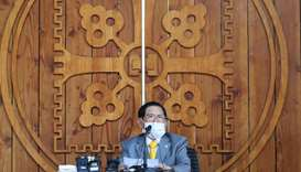 Lee Man-hee, leader of the Shincheonji Church of Jesus, speaks during a press conference at a facili