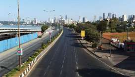Deserted roads at marine drive are seen during a one-day Janata (civil) curfew imposed amid concerns