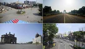 shows deserted (clockwise) Subhash Chowk in Allahabad, Rajpath leading to India Gate in New Delhi, r