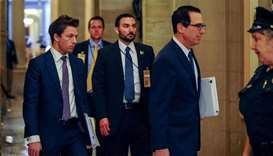Treasury Secretary Steve Mnuchin arrives for a meeting in the office of US Senate Majority Leader Mi
