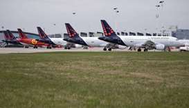 Brussels Airlines planes stand on the tarmac at Brussels Airport, after the suspension of more than