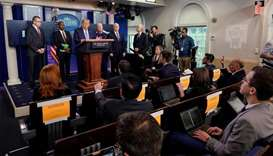 US President Donald Trump speaks during a news briefing on the administration's response to the coro