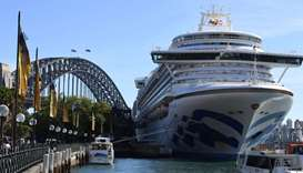 Princess Cruises-owned Ruby Princess is pictured docked at Circular Quay during the disembarkation o