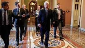 Senate Majority Leader Mitch McConnell (R-KY) arrives during negotiations on a coronavirus disease (