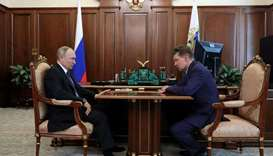 Russian President Vladimir Putin meets with Chief Executive of Gazprom company Alexei Miller in Mosc
