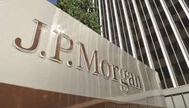 A JPMorgan sign is seen outside the office tower housing the financial services firm's Los Angeles o