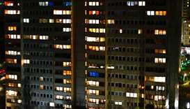 An Apartment building is pictured in Berlin on March 27, 2020.