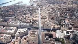A view of the Sicilian port city of Catania from a Guardia di Finanza (finance police) helicopter as