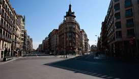 General view taken of an empty street in Barcelona
