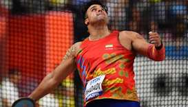 Iran's Ehsan Hadadi in action during the World Athletic Championships in Doha. (Reuters)