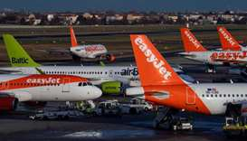 In this file photo taken on December 29, 2019, an aircraft operated by British low cost airline Easy