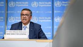 World Health Organization (WHO) Director-General Tedros Adhanom Ghebreyesus speaks during the daily