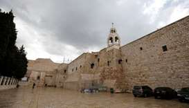 The Church of the Nativity that was closed as a preventive measure against the coronavirus, is seen
