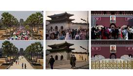 Combination photos showing tourist sites in Asia before and after the spread of coronavirus