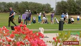 Golfers practice ahead of the Commercial Bank Qatar Masters at ECGC.  PICTURES: Jayan Orma