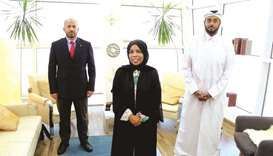 From left: Country adviser Levent Sadik Kucukdaban and KON Group officials Hissa al-Suwaidi and Moha