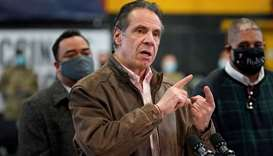 New York Governor Andrew Cuomo speaks during a news conference at a vaccination site in the Brooklyn