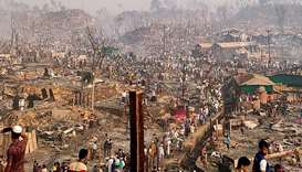 A general view of a Rohingya refugee camp after a fire burned down all the shelters in Cox's Bazar,