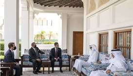His Highness the Amir Sheikh Tamim bin Hamad Al-Thani meets with the delegation of the mayors of a n