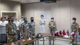 His Highness the Amir Sheikh Tamim bin Hamad Al-Thani during a visit to the National Security Shield