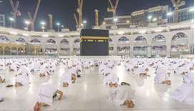 SAFETY: Muslims keep social distance whilst performing Umrah at the Grand Mosque last November. (Fil
