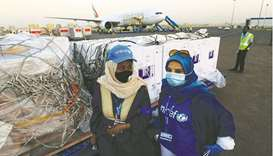 United Nations International Children's Emergency Fund (Unicef) supervises the arrival of the first