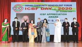 BPQ's two-time president Jayati B Maitra receives the ICBF Appreciation Award from Indian ambassador