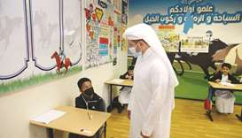 HE the Minister visited Khalifa Model School For Boys and Compass International School, where he rev