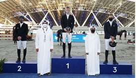 Asian and Qatar Equestrian Federation president Hamad bin Abdulrahman al-Attiyah and Omar al-Mannai,