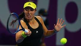Jessica Pegula of the US returns a shot against Karolina Pliskova (not pictured) of Czech Republic d
