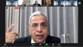 Ved Jain addressing the virtual seminar.