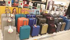 Luggage of varying colours and design on display at LuLu stores.