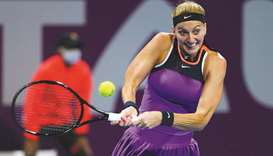 Petra Kvitova in action during Qatar total Open at the Khalifa International Tennis and Squash Compl
