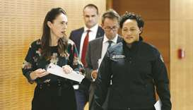 New Zealand's Prime Minister Jacinda Ardern chats with Minister for Emergency Management Kiritapu Al
