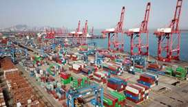 This aerial photo shows shipping containers for export stacked at a port in Lianyungang, in China's