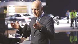 Nicolas Peter, CFO of BMW, gestures while speaking during a Bloomberg Television interview in Frankf