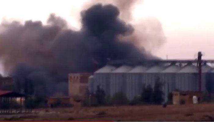After a bomb attack in Homs province- an image grab from a video